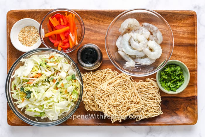 ingredients for Shrimp Lo Mein on cutting board