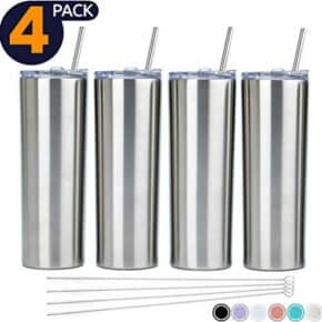 4 pack of stainless steel smoothie cups