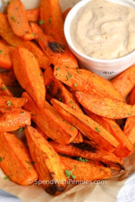 close up of Sweet Potato Wedges with dip