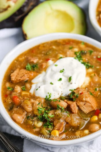 close up of White Turkey Chili Slow Cooker