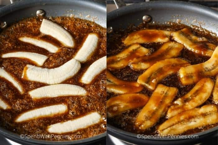 adding bananas and frying in sauce to make Banana Foster