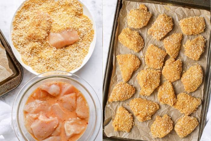 process of coating chicken with bread to make Chicken Nuggets