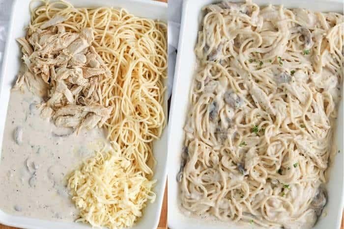 process of adding Chicken Tetrazzini ingredients to casserole dish