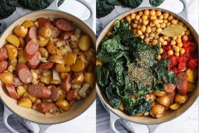 process of adding ingredients to make Kale Soup