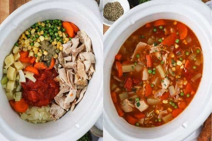 process of adding broth to slow cooker to make Slow Cooker Turkey Vegetable Soup