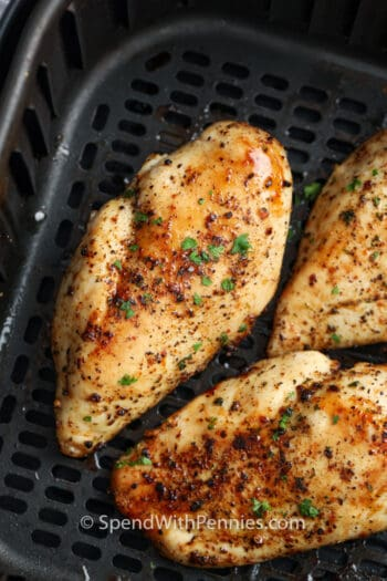 Air Fryer Chicken Breasts cooked in an air fryer