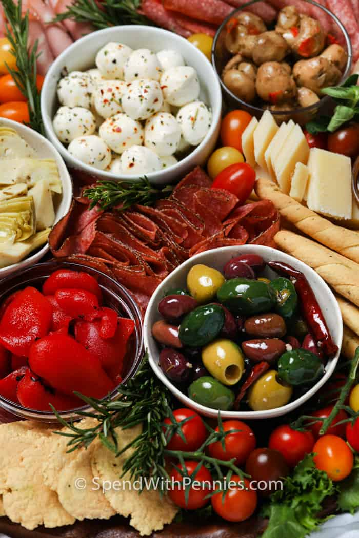 close up of Antipasto Platter with bowls of ingredients