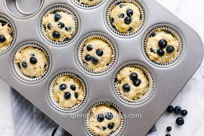 Blueberry Banana Muffins in a muffin tin