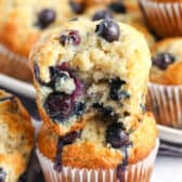 Blueberry Banana Muffins with a bite taken out of one