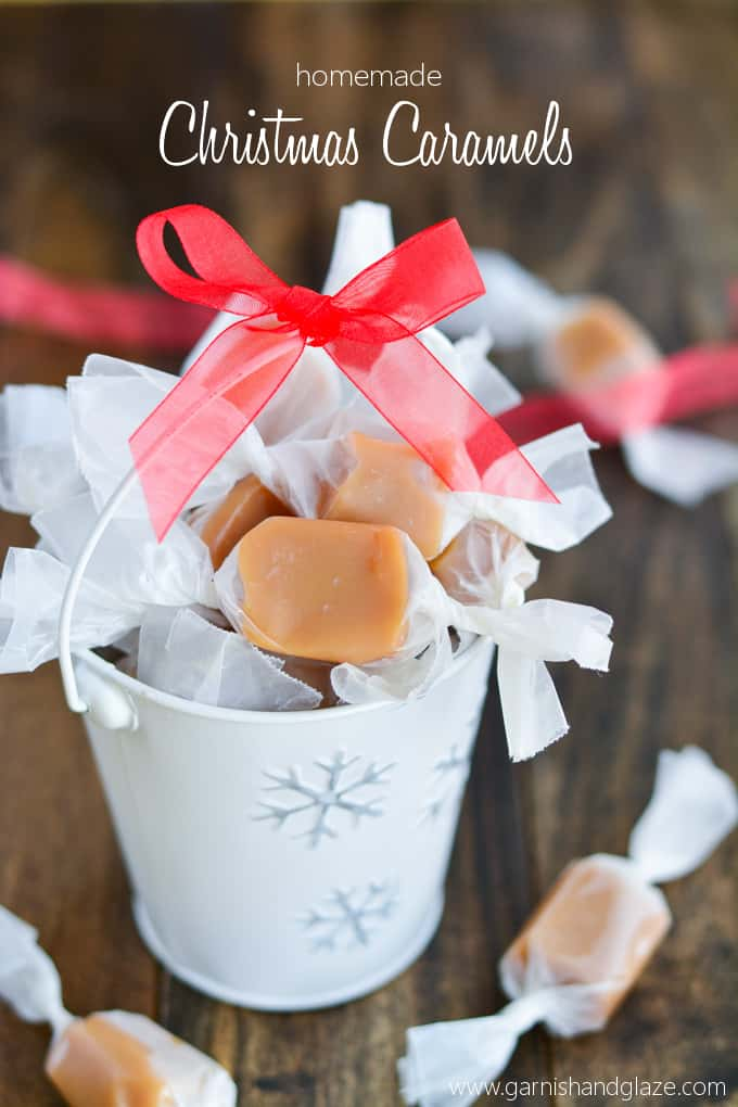 Caramels in a christmas tin with writing