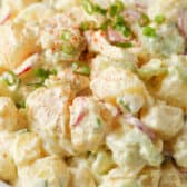 close up of Classic Potato Salad in a white bowl