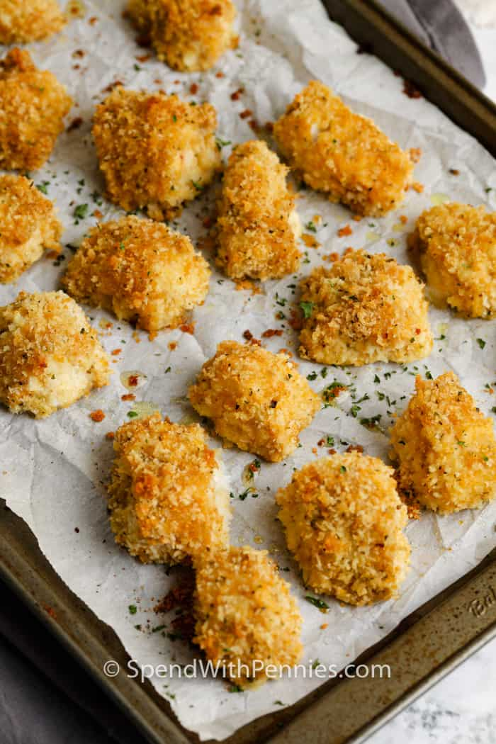 cooked Fish nuggets on a baking sheet
