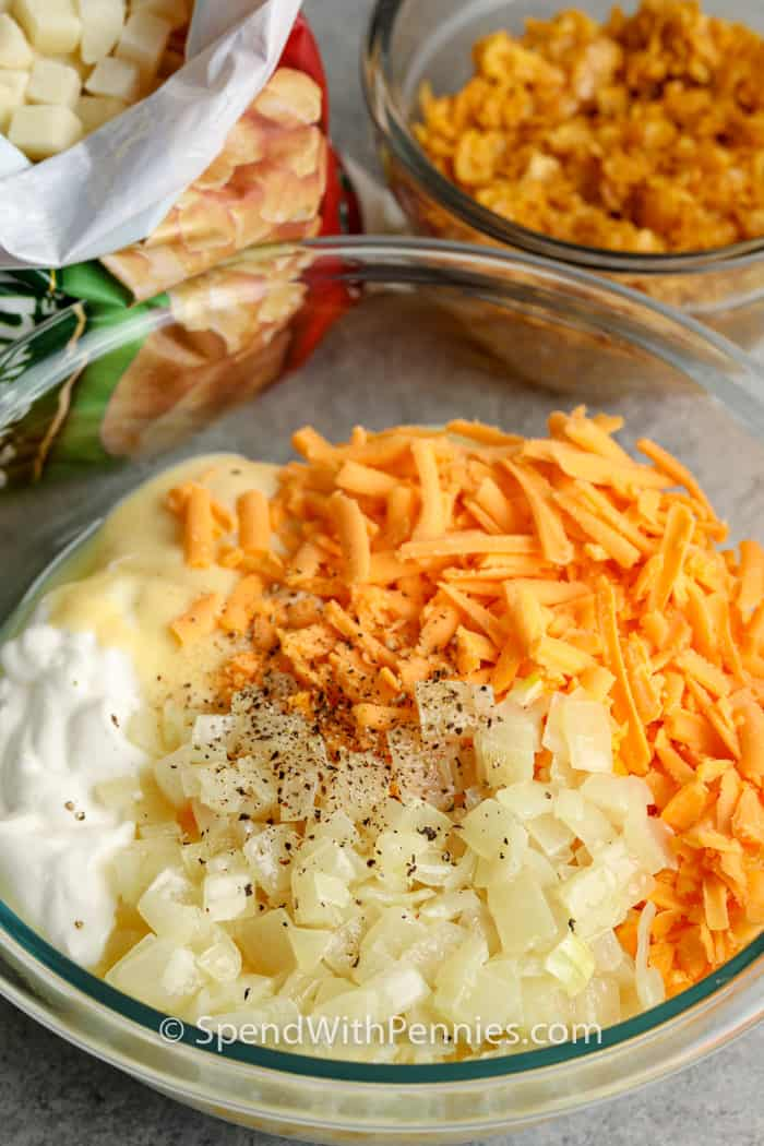 ingredients to make Funeral Potatoes in bowls