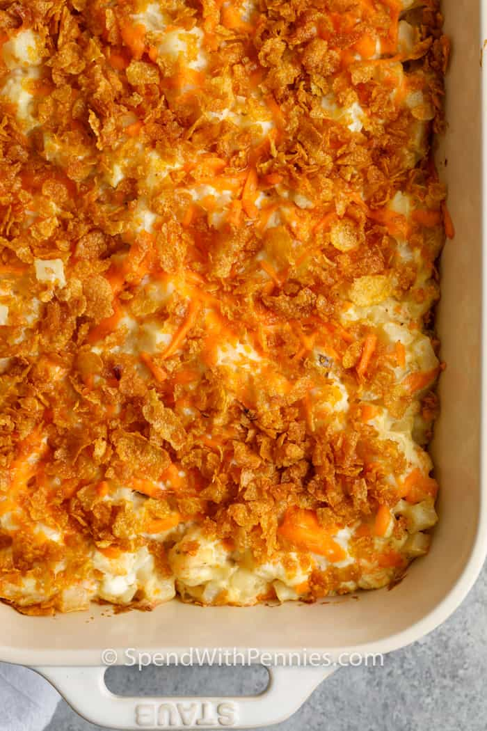 top view close up of Funeral Potatoes in a casserole dish