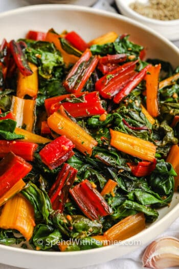 Garlic Butter Swiss Chard in a white dish