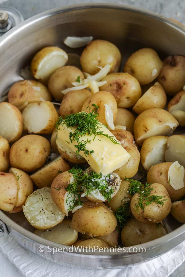 ingredients to make Garlic Dill New Potatoes in a bowl before mixing
