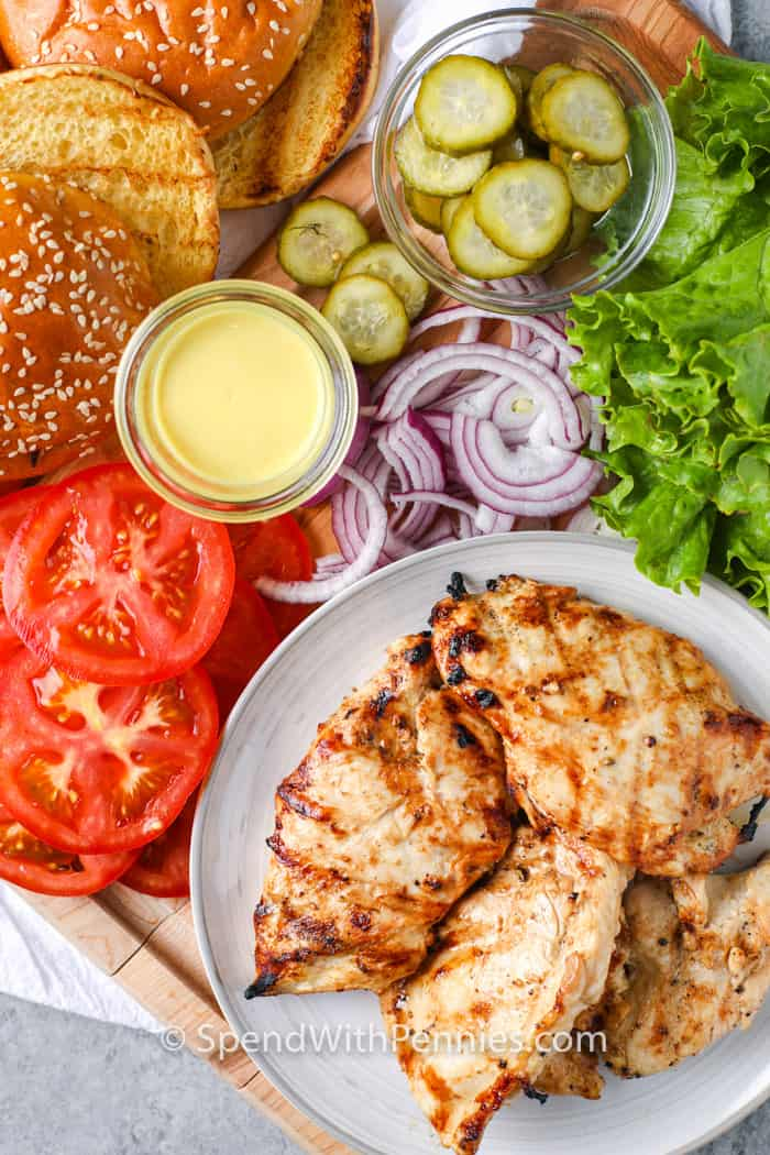 ingredients to make a Grilled Chicken Sandwich