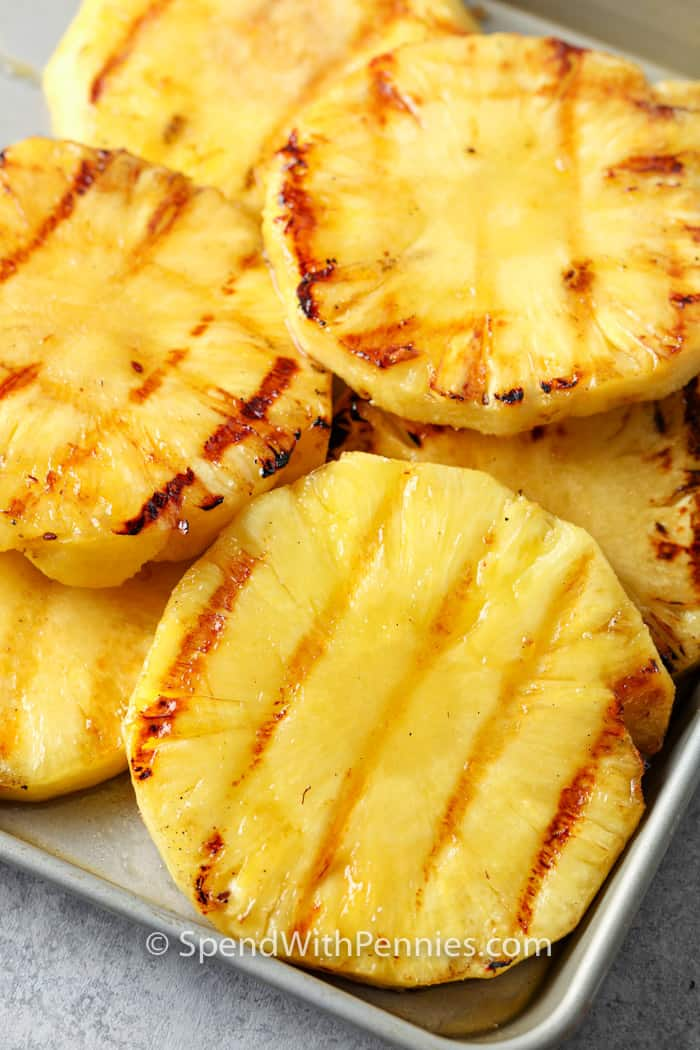Grilled Pineapple on a metal sheet