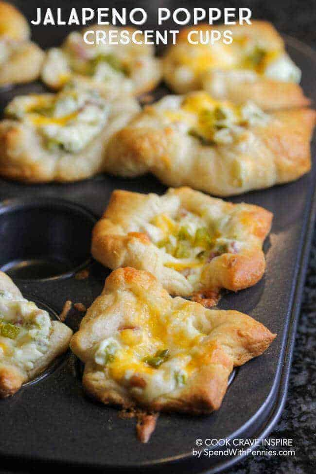 Jalapeno Popper Crescent Cups with a title