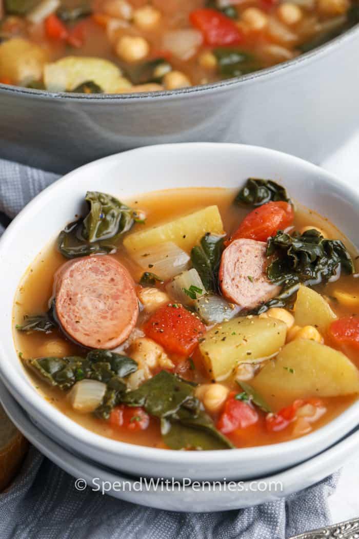 Kale Soup in a white bowl
