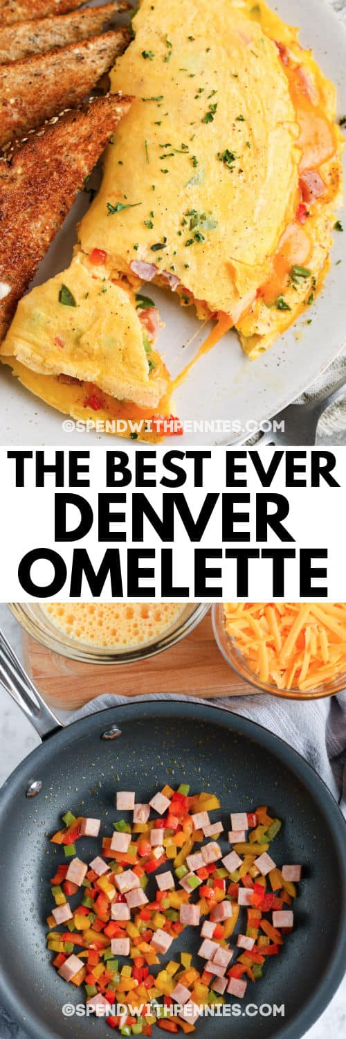 ingredients and finished Denver Omelet (Denver Omelette) on a plate with a title