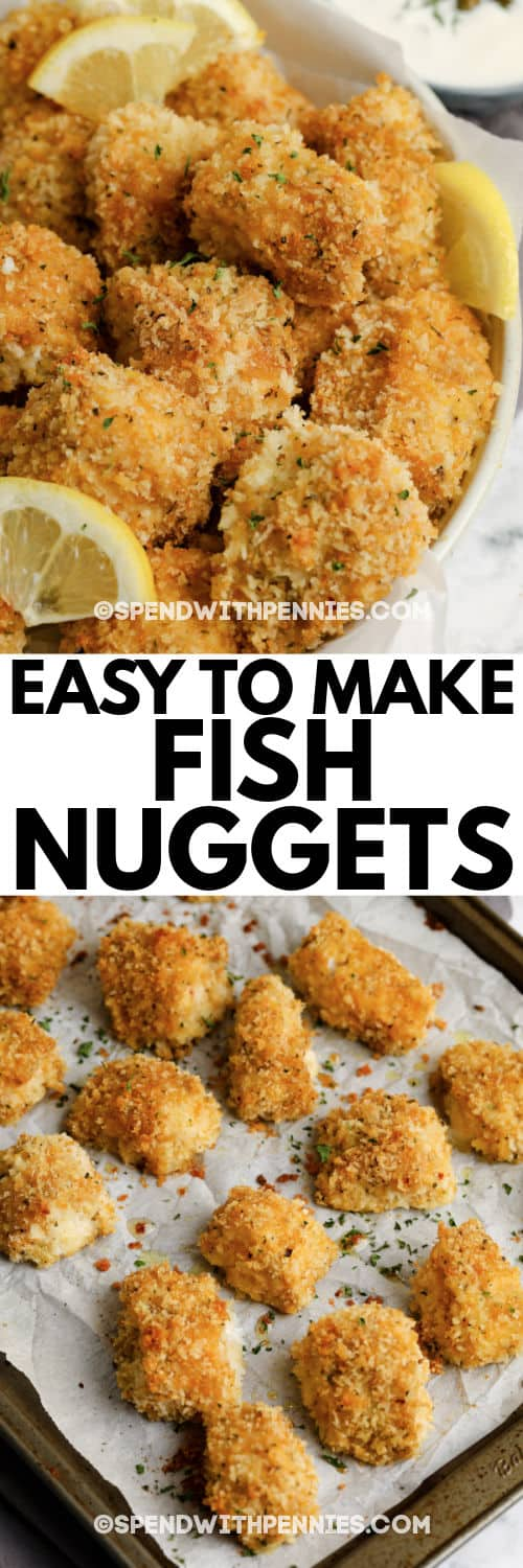 Fish Bites (Fish Nuggets) on a baking sheet and plated with a title
