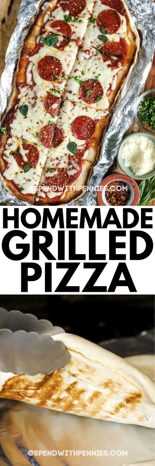 Grilled Pizza on a cutting board and a photo of grilling pizza crust with writing