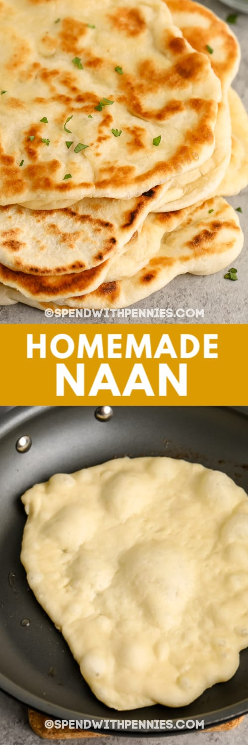 top image - prepared naan bread. Bottom image - naan bread being cooked in a frying pan with writing