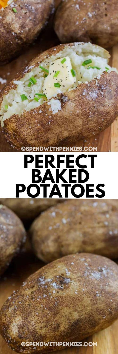 A Baked Potato with butter, chives and pepper, and an uncut baked potato underneath the title.