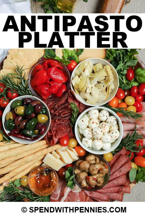 Antipasto Platter with writing