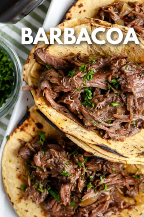 Barbacoa prepared on tortilla with writing