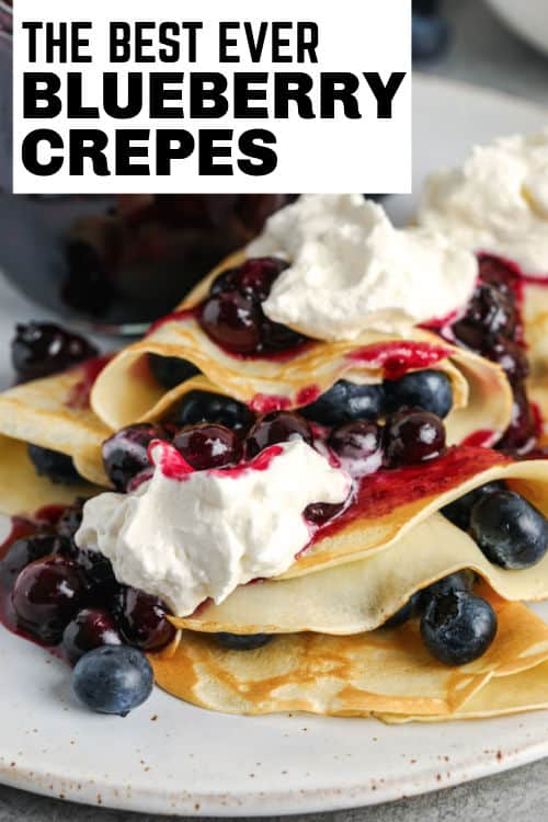 Blueberry Crepes on a plate with writing