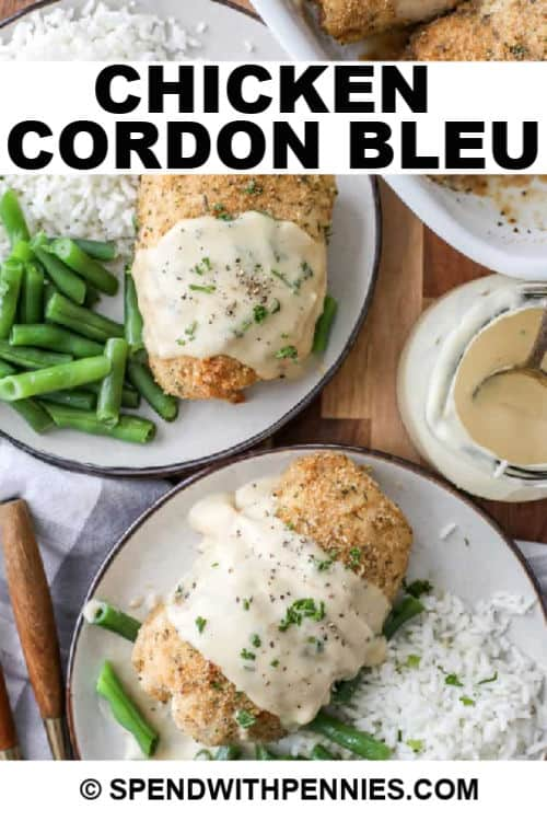 plated Chicken Cordon Bleu with writing