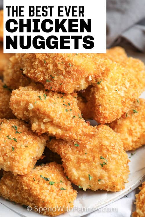 Chicken Nuggets on a plate with writing