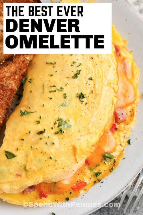 Denver Omelet (Denver Omelette) on a plate with a title