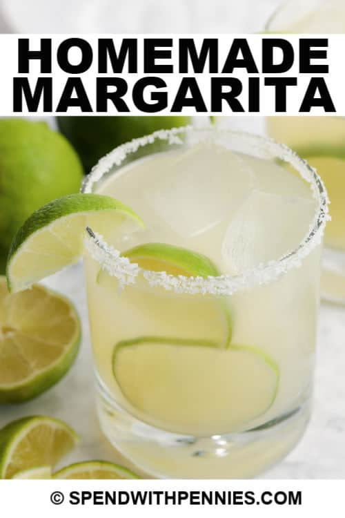 Margarita in a glass with writing