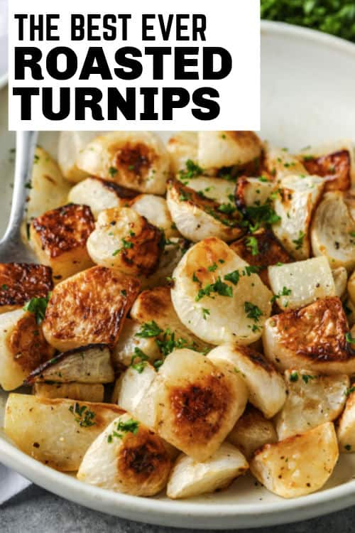 Roasted Turnips on a plate with garnish and a spoon with a title