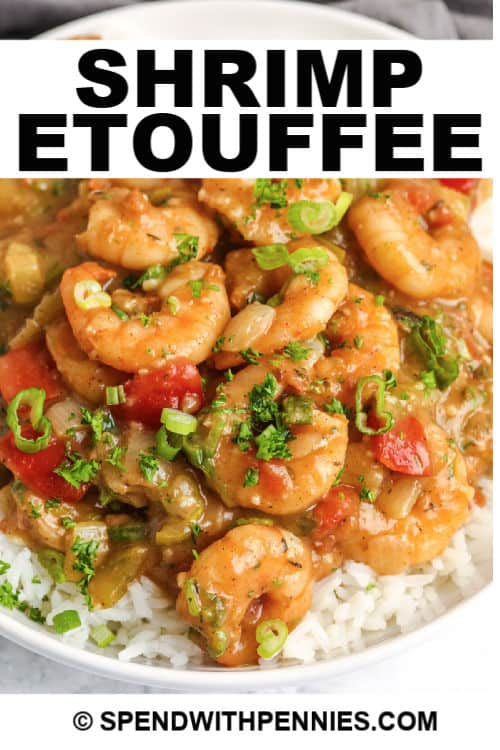 Shrimp Etouffee on a plate with a title