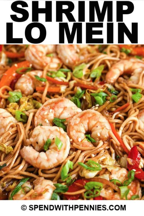 close up of Shrimp Lo Mein with writing