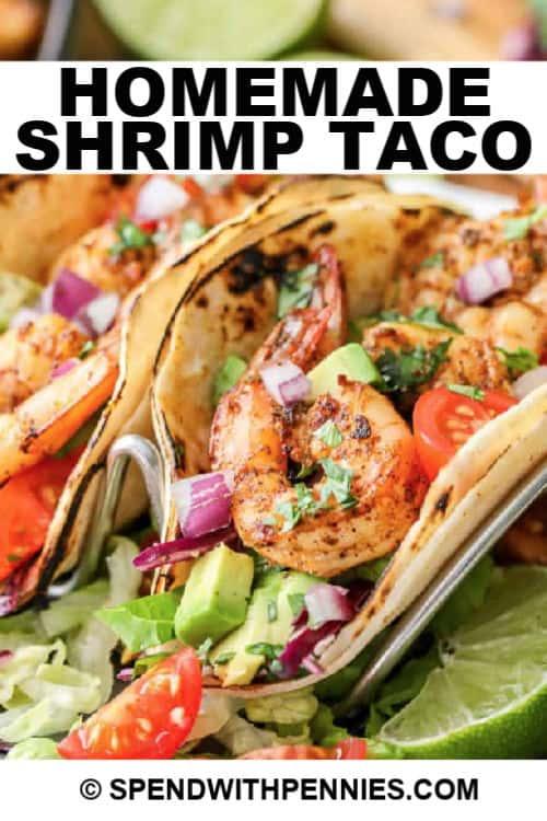 Shrimp tacos with writing