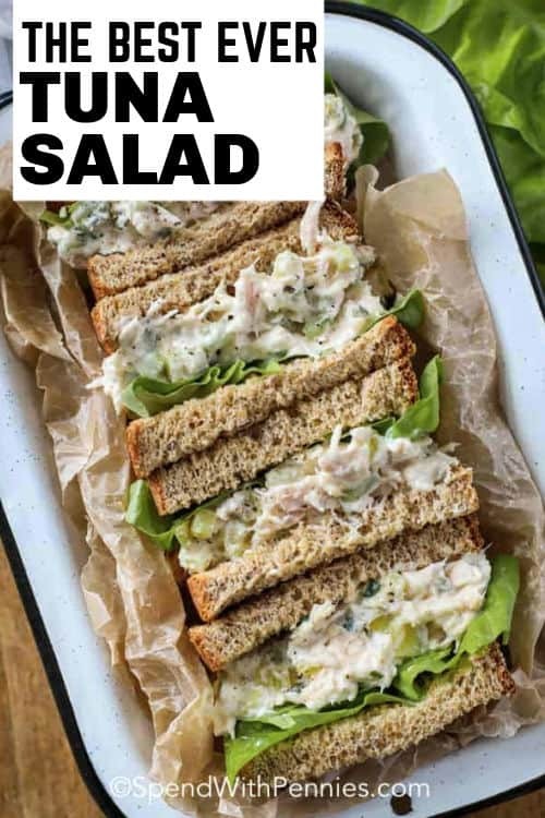 Tuna Salad sandwiches on a plate with writing