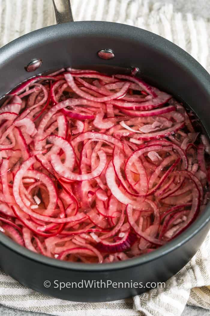 Pickled Red Onions in a pan