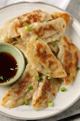 top view of plated Pork Dumplings with sauce
