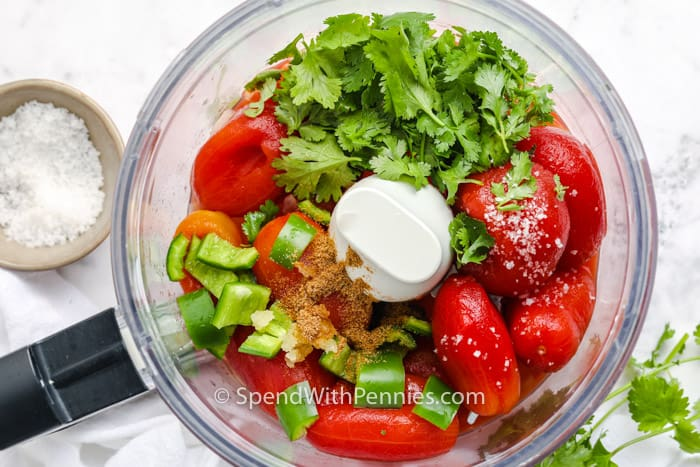 ingredients in food proccesor to make Homemade Salsa