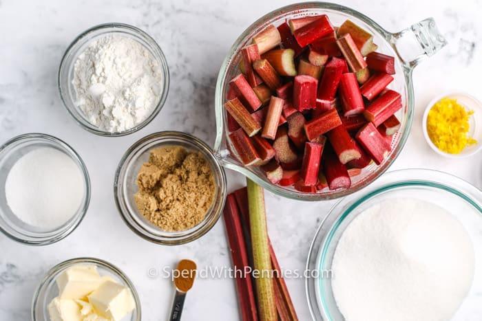 ingredients to make Rhubarb Pie