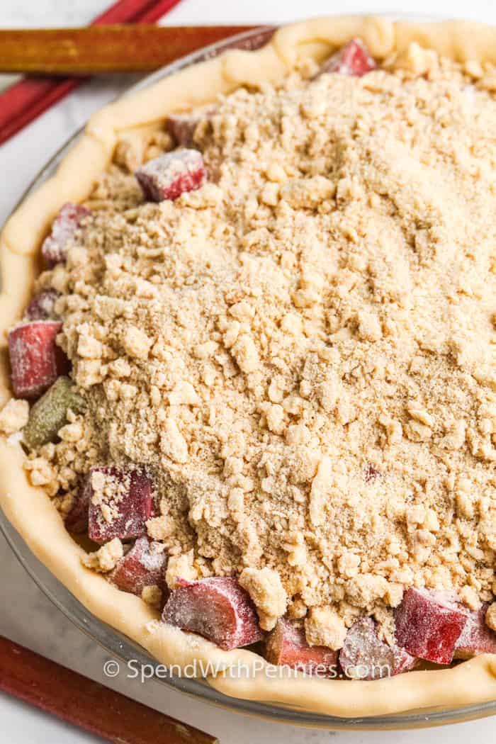 Rhubarb Pie before baking