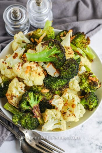 top view of plated Roasted Broccoli and Cauliflower
