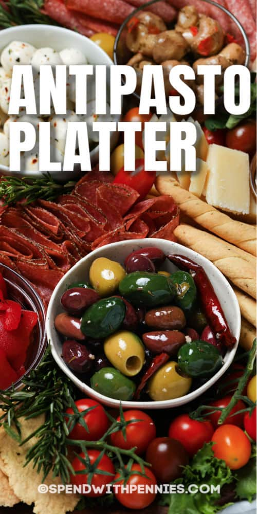close up of Antipasto Platter with writing