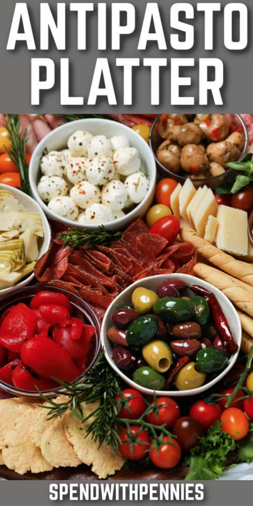 close up of Antipasto Platter with a title