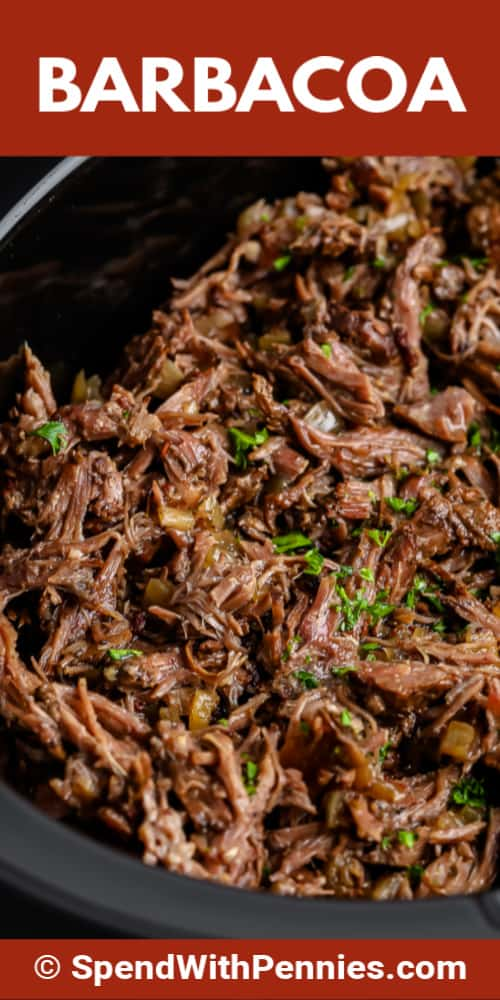 Barbacoa shredded in a crockpot with writing